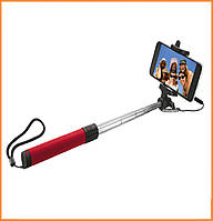 Монопод для селфи (селфи-палка, палка для селфи) Trust Urban Wired Foldable Selfie Stick с кабелем AUX 3,5 Red