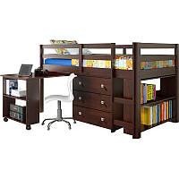 Кровать-чердак с выдвижным письменным столом и комодом