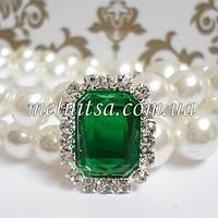 Клеевой декор  в стразовой окантовке, 1,8х2 см, цвет зеленый