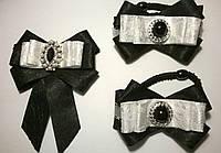 Комплект аксессуаров украшений для школы с брошью-галстуком, цвет черный+белый