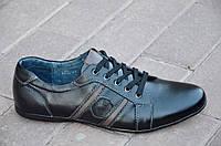 Туфли, мокасины мужские молодежные кожанные цвет черный легкие, удобные Китай 2017. Топ