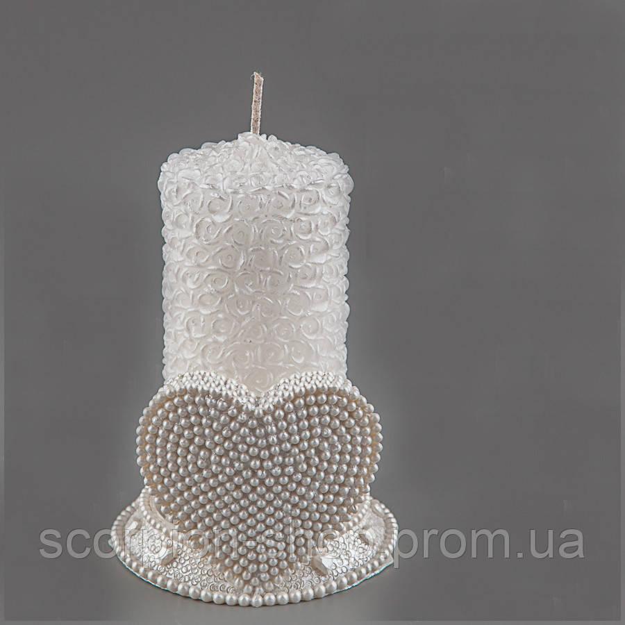 """Свадебная свеча """"Семейный очаг"""" с подсвечником"""