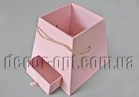 Коробка Трапеция (без надписи) розовая с выдвижным ящиком 20х20х18,5см
