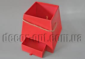Коробка Трапеция (без надписи) красная с выдвижным ящиком 20х20х18,5см