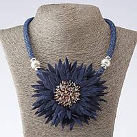Колье на шнуре Хризантема текстиль синее L-48-55см