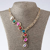 """Колье на цепочке """"Изгиб""""  с разноцветными кристаллами L-40-52см цвет металла """"золото"""""""