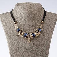 """Колье на шнурах Ночные Фиалки с синими кристаллами L-42-47см   цвет металла """"золото"""""""
