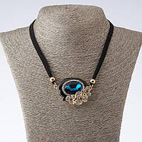 """Колье на шнурах «Эксельсиор» с голубым кристаллом L-42-47см  цвет металла """"золото"""""""