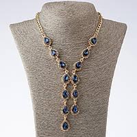 """Колье на цепочках """"Эйфория"""" с синими кристаллами каплями L-45-50см  цвет металла """"золото"""""""