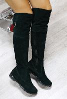 Сапоги-ботфорты демисезонные замшевые зеленые