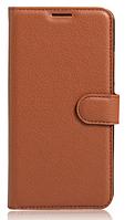 Кожаный чехол-книжка для Samsung Galaxy J7 Prime 2016 коричневый