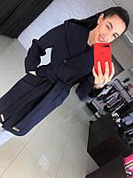 Женское красивое удлиненное демисезонное кашировое пальто с поясом и капюшоном (3 цвета)