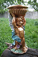 Фигура для сада и дома Ангел с чашей для цветов (бронза цветная) 51 см.