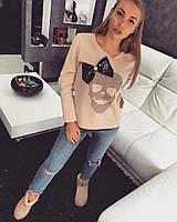 Свитшот Philipp Plein женский модный теплый декорирован бантом из пайеток SSdor120
