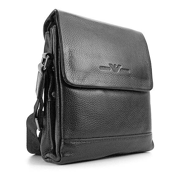 Сумка мужская малая кожаная планшет черная Giorgio Armani 7911-1 ... 2cebfa57100