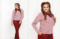 Костюм женский брюки+рубашка в клетку, цвет - красный
