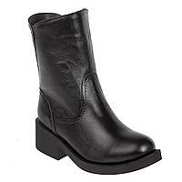 Ботинки женские Alamo (черные, кожаные, с металлической пряжкой сзади)