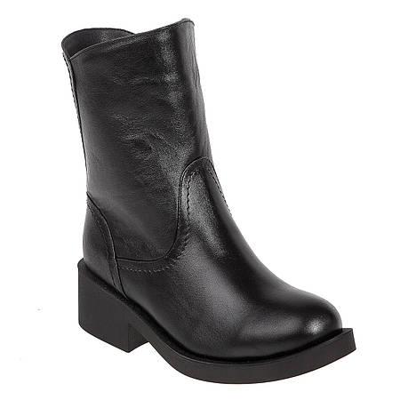 Ботинки женские Alamo (черные, кожаные, с металлической пряжкой сзади) c29b4e7b461