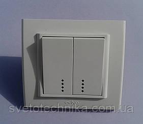 Выключатель двухклавишный OVIVO Mina с подсветкой  (белый)