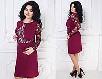 Модное женское платье-обманка с гипюром батал