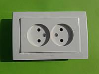 Розетка электрическая OvVIVO Mina скрытой установки двойная без заземления (белая)
