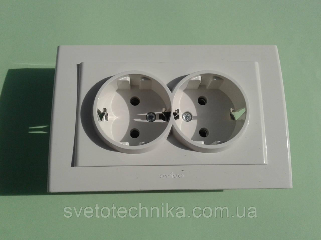Розетка электрическая OVIVO Mina  двойная с заземлением (белая)