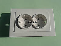 Розетка электрическая OVIVO Mina скрытой установки двойная с заземления (белый)
