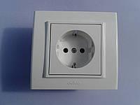 Розетка электрическая OVIVO Mina скрытой установки одинарная с заземления (белый)