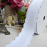 Лента реповая с ажурным краем, 35 мм, белая, фото 2