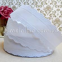 Лента реповая с ажурным краем, 35 мм, белая