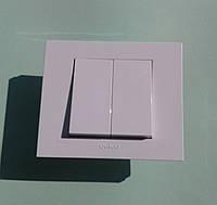 Выключатель двухклавишный OVIVO Grano скрытой установки (белый)