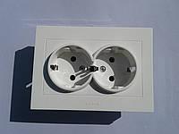 Розетка электрическая  OVIVO Grano скрытой установки двойная с заземления (белый)