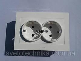 Розетка  OVIVO Grano  двойная с заземления (белый)