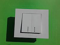 Выключатель двухклавишный OVIVO Grano с подсветкой  (белый)