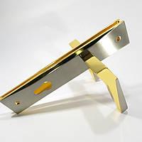 Ручка на планке для входных дверей YU-TL Эллада SN/GP  (золото сатен)