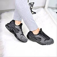 Кроссовки женские Nike Huarache темно - серые 3569, обувь дропшиппинг