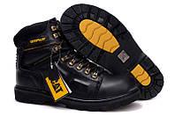 Мужские зимние кожаные ботинки CAT Caterpillar НА МЕХУ в наличии, чёрный. РАЗМЕР 39