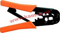 Инструмент для обжима коннекторов RJ12, RJ45, с трещоткой, Hanlong (HT-568R)