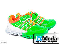 Яркие кроссовки детские Cinar из экокожи с липучками зеленые