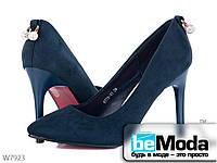Эффектные туфли женские ZDW Blue на высоком каблуке с украшением на пятке синие