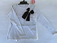 Блуза реглан белая с бантом