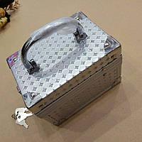 Шкатулка-сундук для украшений серебристая