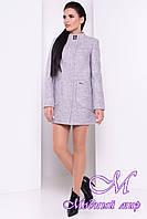 Женское серое осеннее пальто (р. S, M, L) арт. Мирта шерсть №9 - 9328
