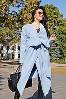 Пальто женское на запах с поясом, материал - кашемир, цвет - голубой