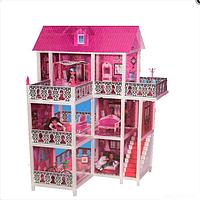 Кукольный домик три этажа с террасой + три куклы 66888