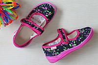 Детские тапочки на липучке для девочки оптом текстильная обувь Vitaliya Виталия Украина, размеры 28-31,5