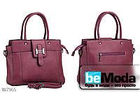 Офисная сумка женская Kiss me cameo с декоративной пряжкой фиолетовая