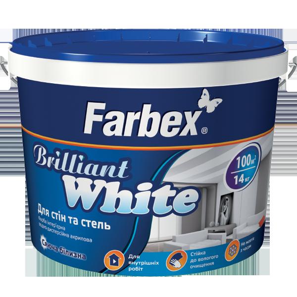 """Краска акриловая для стен и потолков Farbex """"Brilliant White"""", белоснежная матовая 7 кг"""