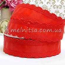 Лента репсовая с ажурным краем, 35 мм, красный