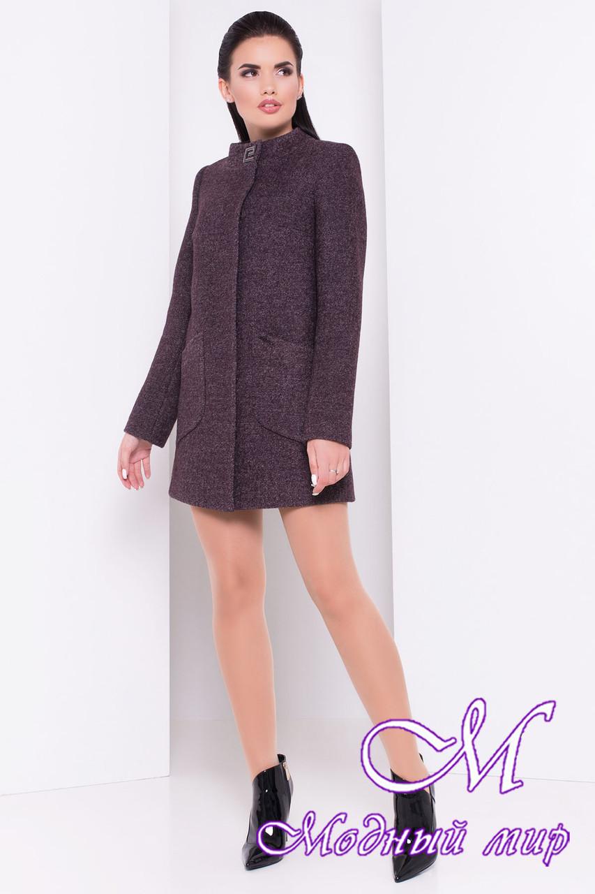 Женское шоколадное осеннее пальто (р. S, M, L) арт. Мирта шерсть №9 - 16666